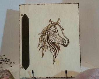 Tribal Horse Book of Shadows Book pagan spells witch Love wooden scrapbook  alter Goddess totem scrapbook