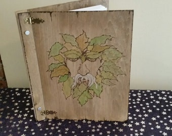 GREEN MAN Goddess Metal Moon spell witch pagan purple silver Book of Shadows