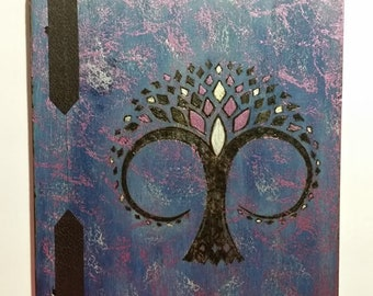 Metal tree of Life Book of Shadows Goddess witch spells moon sun star craft leather
