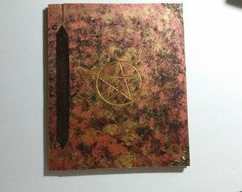 Pentagram Tri color Gold Bronze Black Sun Moon Goddess God spell Book of Shadows