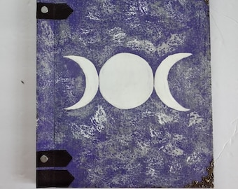 Goddess Metal Moon spell witch pagan purple silver Book of Shadows