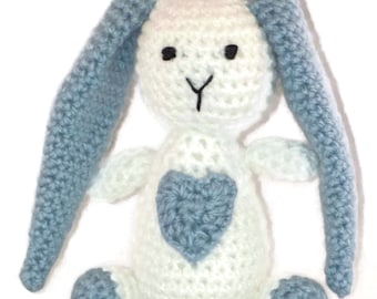 Crochet Bunny with a Big Heart, Floppy Ear Bunny, Light Blue &White, Stuffed Toy, Baby Shower Gift