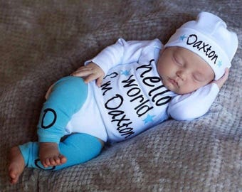 3b60c0e38 Baby Boy Clothes Newborn Boy Coming Home Outfit Hello World Personalized Boy  Clothing Newborn Boy Take Home Outfit Twin Boy Baby Shower Gift