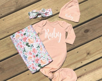 c6d958055 Baby Girl Gown Swaddle Blanket Set Coming Home Outfit Newborn Girl Clothes  Baby Shower Gift Take Home Clothing Peach Floral Blanket Set