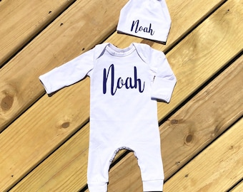 cef192ae5a4de Baby Boy Coming Home Outfit Newborn Boy Clothes Personalized Baby Shower  Gift Long Sleeve Baby Romper Newborn Boy Take Home Navy or GrayName
