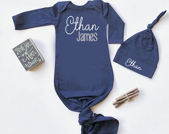 cec13f572 Newborn Boy Coming Home Outfit Baby Boy Clothes Personalize Baby Shower  Gift Knotted Gown Newborn Boy Take Home Clothing