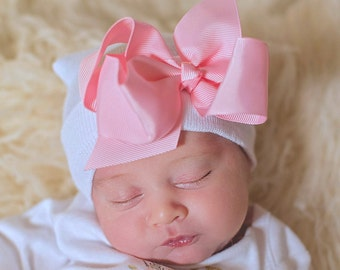 ba69649d6 Baby Girl Hat With Bow, Newborn Baby Girl Hat, Hospital Baby Hat, Baby Girl  Hospital Hat Baby Girl Accessory, Baby Girl Beanie Hat