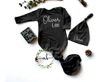 fc7893fba9cf Newborn Boy Coming Home Outfit Baby Boy Clothes Personalize Baby Shower  Gift Knotted Gown Newborn Boy Take Home Clothing
