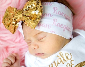 Baby Girl Personalized Headband, Personalized Newborn Headband, Personalized Girl Wide Headband, Newborn Hospital Outfit, Coming Home Outfit