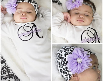 4874cedd2 Newborn Girl Take Home Outfit, Monogrammed Baby Gown, Baby Girl Coming Home  Outfit, Newborn Baby Gift Baby Shower Gift, Damask Lavender Baby