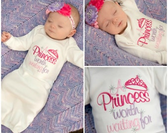 Princess Newborn Girl Coming Home Outfit Baby Girl Clothes Newborn Girl Take Home Outfit Princess Worth Waiting For Baby Shower Gift Girl
