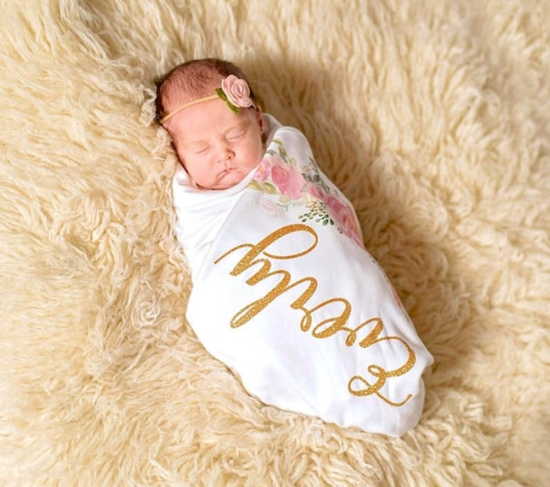Personalized Baby Girl Baby Romper Newborn Coming Home Outfit Newborn Girl Clothes Baby Shower Gift Set Newborn Pink Floral Swaddle Blanket