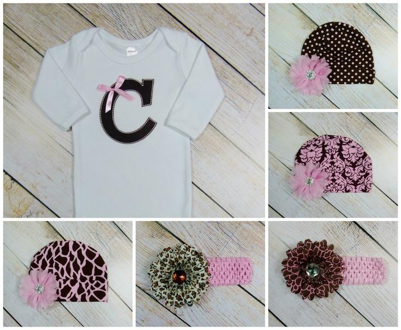 Monogram Baby Girl Clothes Giraffe Pink Brown Baby Girl Gift Set Leg Warmers Headband Options Baby Gown or Bodysuit
