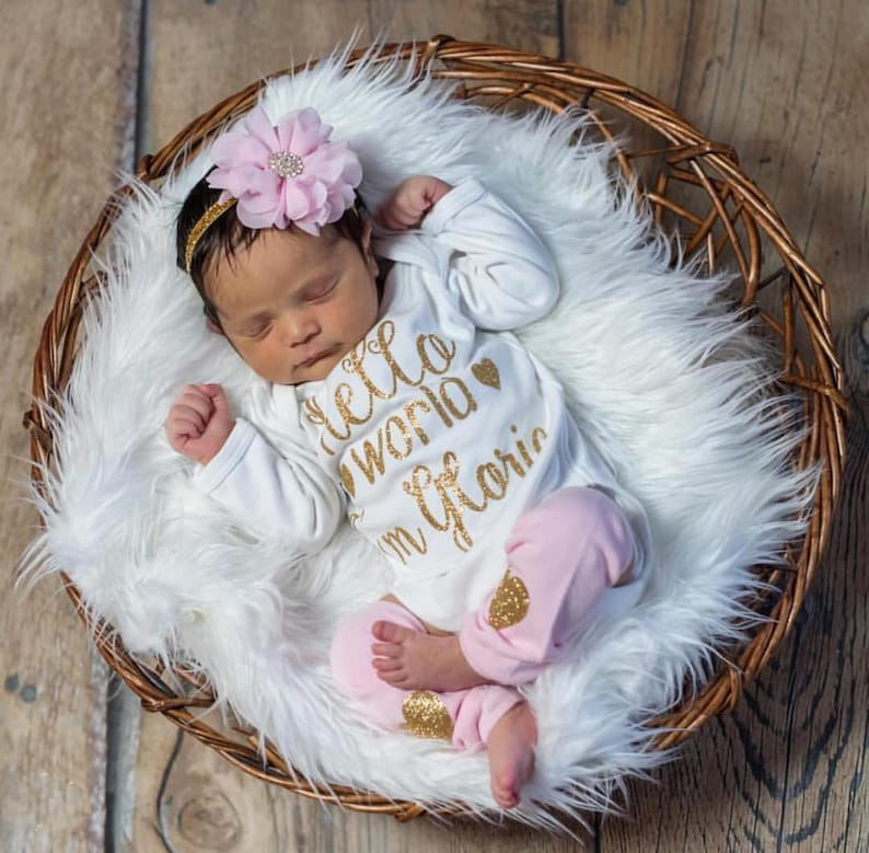 b7274e240 Newborn Girl Personalized Baby Girl Coming Home Outfit Baby