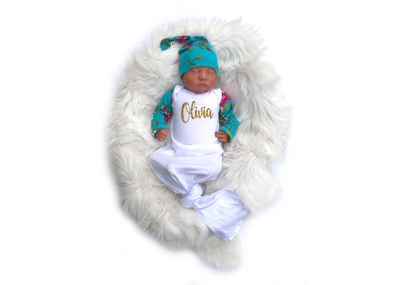 Personalized Newborn Girl Coming Home Outfit Baby Girl Clothes Baby Shower Gift Turquoise Pink Floral Knotted Gown Girl Take Home Clothing