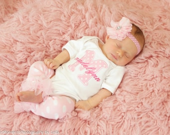 Newborn Girl Coming Home Outfit Personalized Baby Girl Clothes Newborn Girl Outfit Monogrammed Baby Gift Baby Shower Gift Take Home Outfit