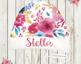 Personalized Newborn Hat Infant Beanie Hat Baby Accessory Newborn Hat Baby Beanie Baby Shower Gift Flower Baby Hat Hospital Baby Gift