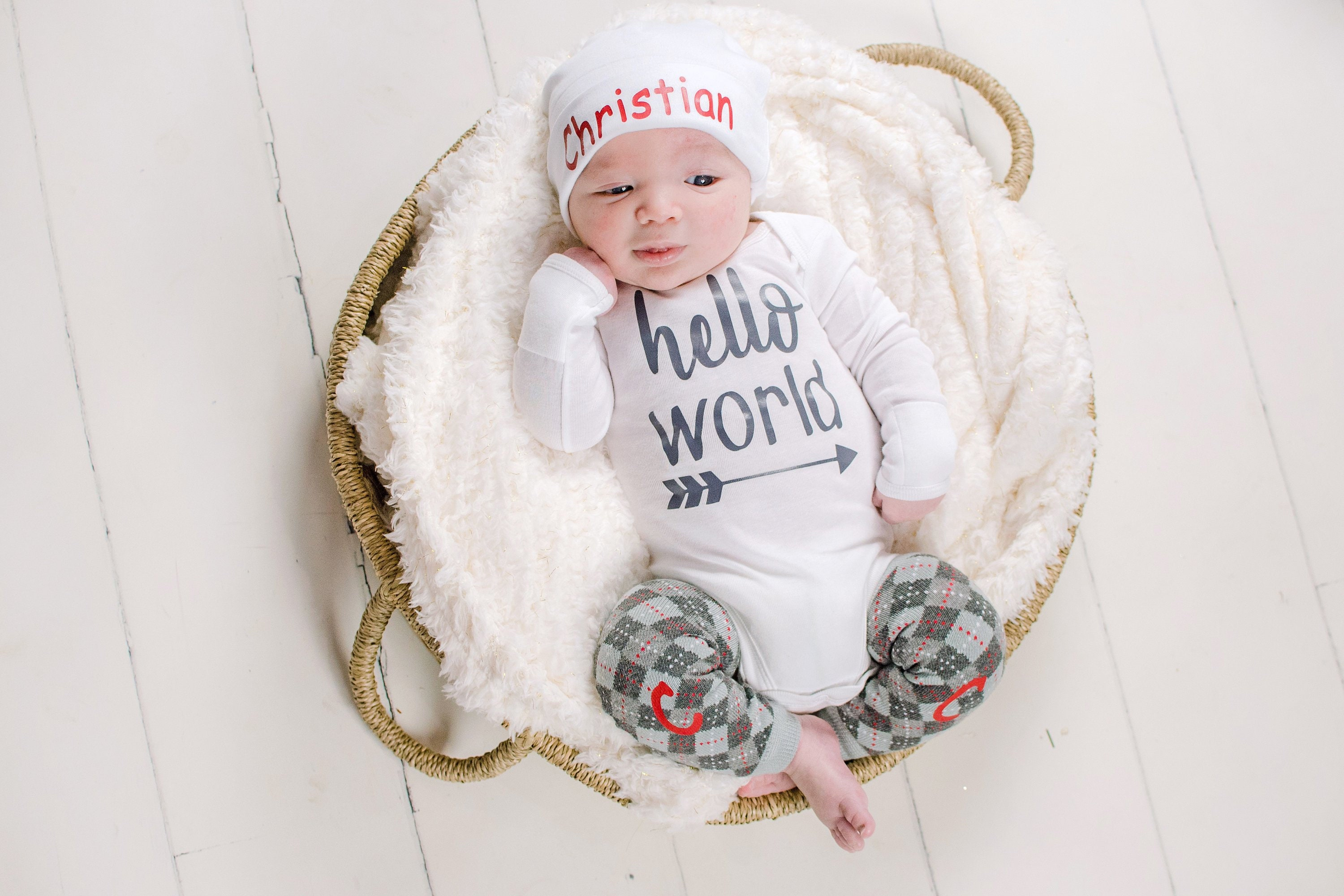 c591c5f50 Hello World Newborn Boy Outfit Baby Boy Coming Home Outfit | Etsy