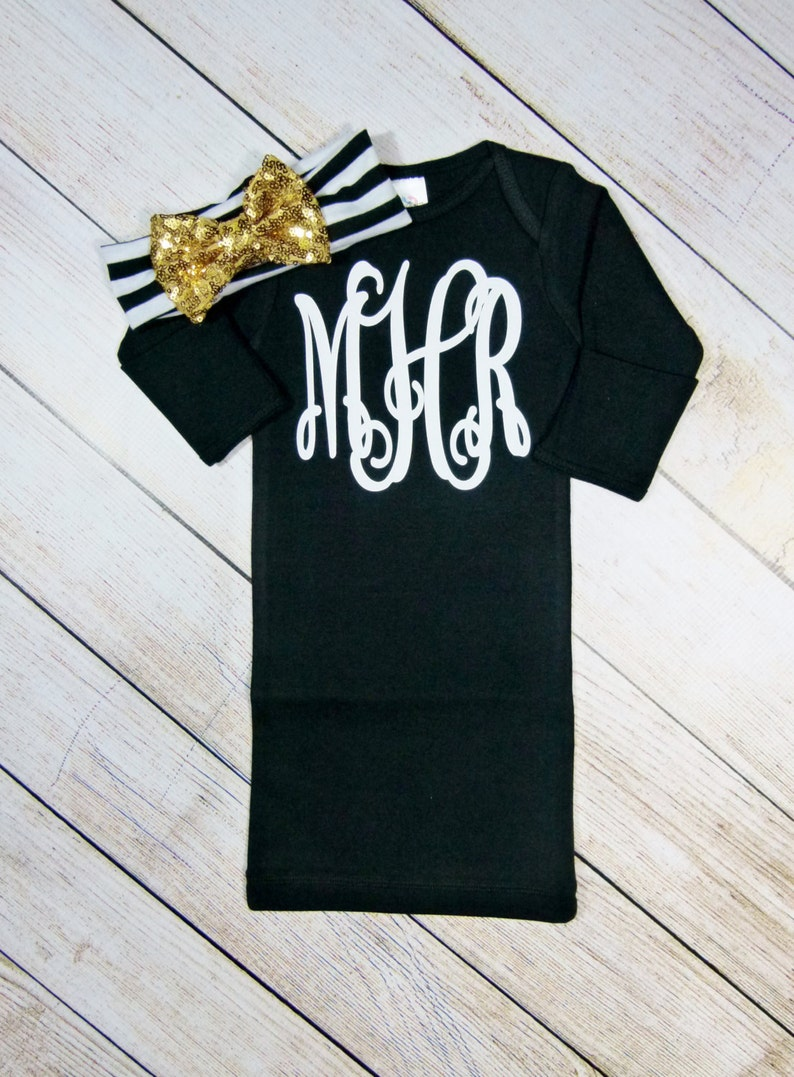 b9413690e8ee Monogram Baby Girl Clothes Black Gold Glitter Personalized 3