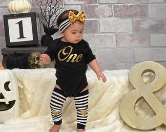 1st Birthday Girl Outfit, First Birthday Outfit Girl, Smash Cake Girl Outfit, Black Gold Headband Leg Warmers, Twin First Birthday Clothing