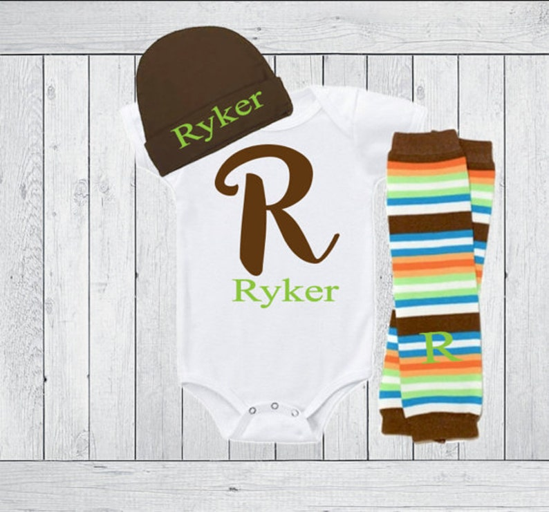 Tee or Gown Leg Warmers Hat Option Green Brown Baby Boy Take Home Baby Boy Clothes Toddler Boy Gift Outfit Clothing Personalized Bodysuit