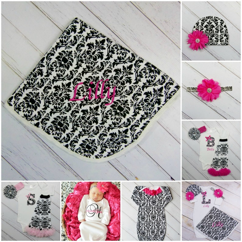 Baby Girl Clothes Damask Monogram Bodysuit or Gown Add Leg Warmers and Headband Options New Baby 1st Birthday Gift Set Outfit Pink Clothing