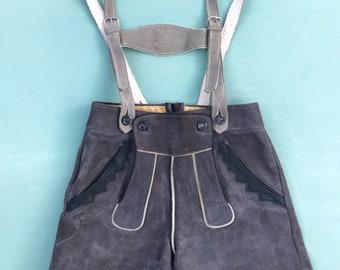 OKTOBERFEST 1950/'s 60/'s Light Grey LEATHER High Waist Lederhosen Shorts  by BERGFREUND Germany  size 38 Small Medium