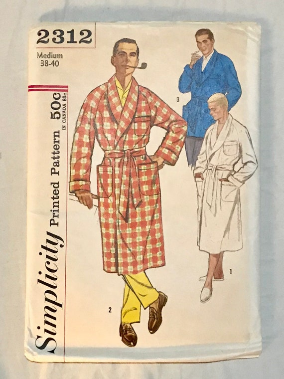 1950/'s Advance 8802 men/'s size Medium traditional robe and lounge jacket with shawl collar and contrast lapel option
