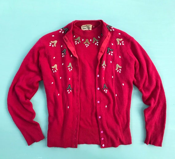 1950s Red Cardigan SET ~ Vintage Sweater ~ 50s Kni