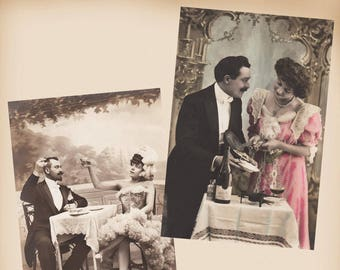 Couple With Champagne 2 New 4x6 Vintage Image Photo Prints CP61 CP71