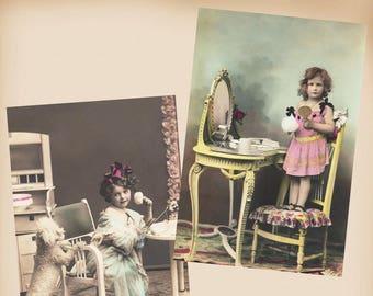 Girl Powder Puff Poodle 2 New 4x6 Vintage Image Photo Prints CE185 CE186