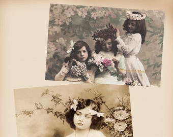 Girls With Flowers - 2 New 4x6 Vintage Postcard Image Photo Prints - CE257 CE08