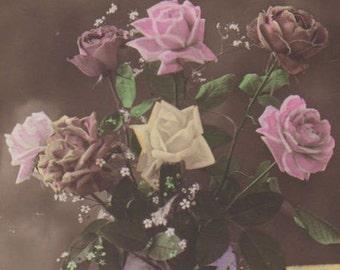 Roses Bouquet Antique Tinted Photo Postcard