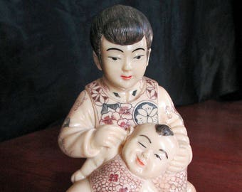 Mother With A Smiling Baby Collectible Hand Painted Chinese Figurine