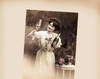 Edwardian Lady With Champagne New 4x6 Vintage Postcard Image Photo Print LE239