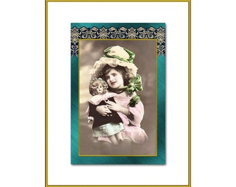 Lady Cameo Portrait New 4x6 Vintage Postcard Image Photo Print AR76