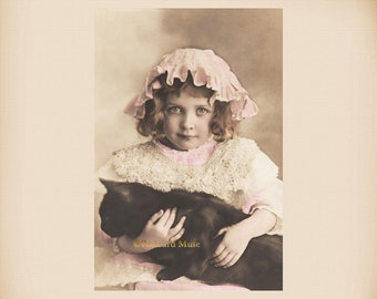 Girl With A Black Cat New 4x6 Vintage Postcard Image Photo Print CE95