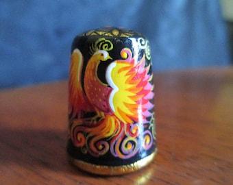 Russian Firebird Hand Painted Wooden Thimble