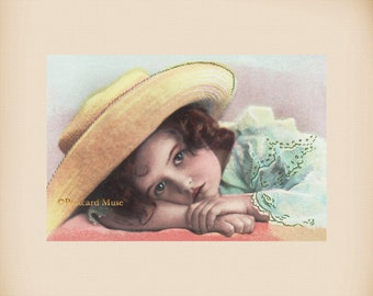 Girl With A Hat New 4x6 Vintage Postcard Image Photo Print CE267