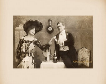 Edwardian New Year Couple With Champagne New 4x6 Vintage Postcard Image Photo Print CP08