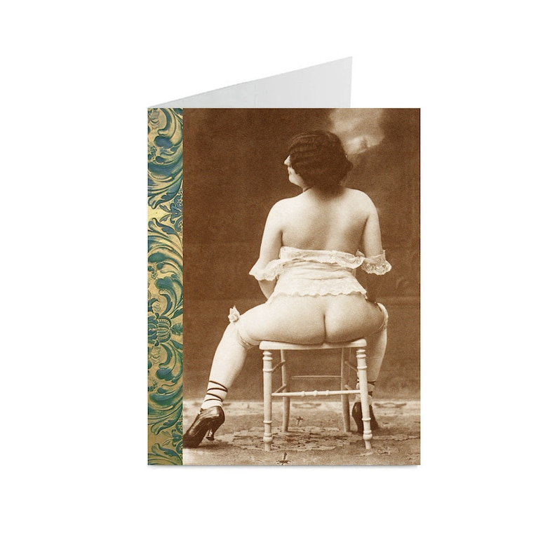 Risque Lady In A Chair Vintage Image Blank Greeting Cards 10pc Set VN02