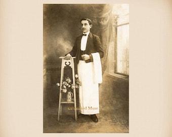 French Waiter New 4x6 Vintage Postcard Image Photo Print GE07