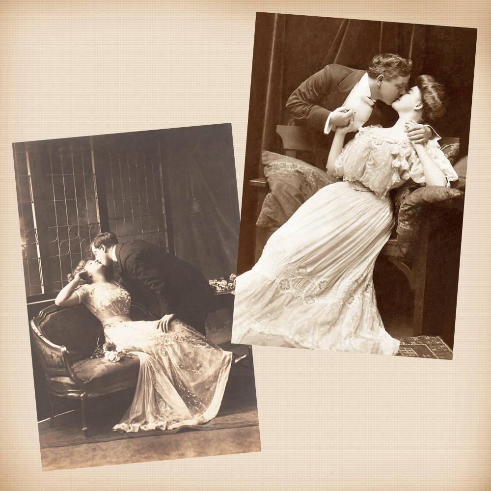 Anmutig Liebhaber Paar 2 neu 4 x 6 Vintage-Karte Bild Foto