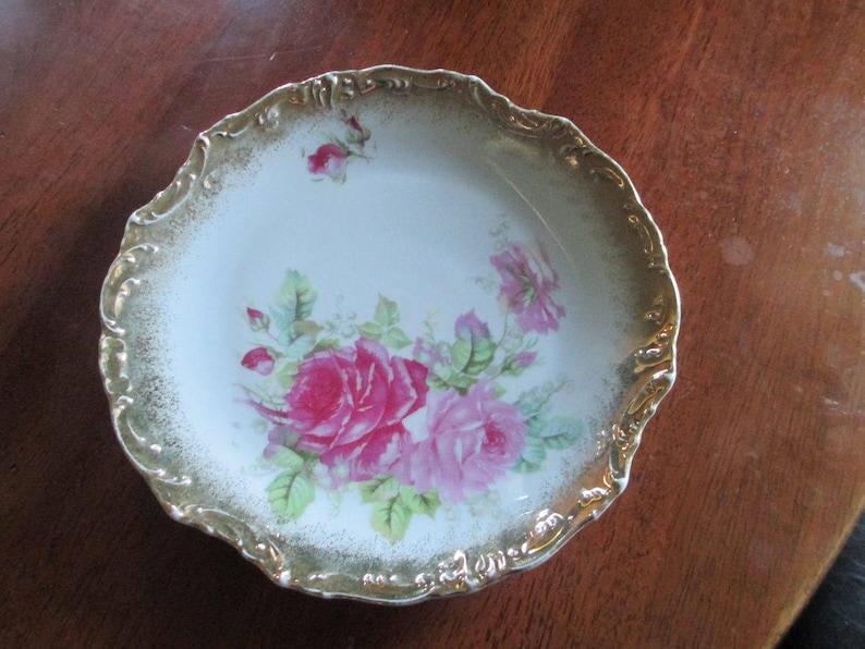 Rich Vintage German Porcelain Roses And Gold Plate