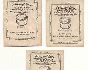 Three Packets of Vintage Princess Mary Face Powder