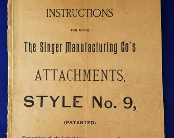 Antique 1894 Singer Style #9 Attachments Instruction Book for Puzzle Box
