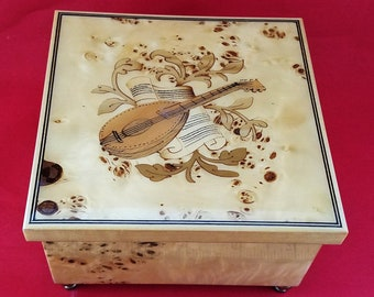 Burled Wood Inlaid Reuge Music Box