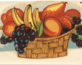 1950s Kitchen Decal Fruit Basket