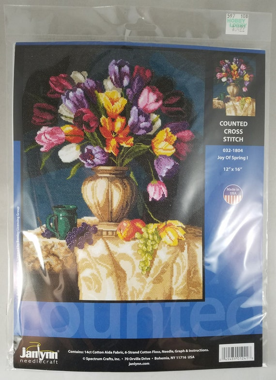 """Counted Cross Stitch Kit MAKE YOUR OWN HANDS T-16 /""""Tulips/"""""""