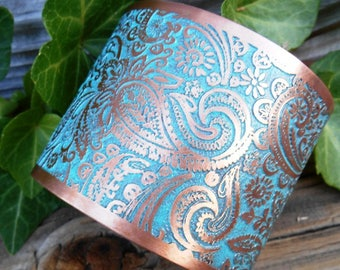 Turquoise Paisley Cuff, Paisley Bracelet, Wide Cuff Bracelet, Copper Jewelry, Ready to Ship, Turquoise Blue, Rustic Wedding Jewelry, Bride